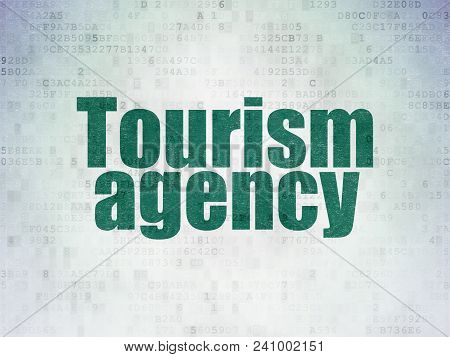 Tourism Concept: Painted Green Word Tourism Agency On Digital Data Paper Background