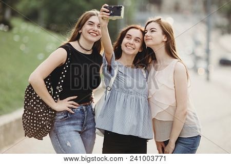 Friendship, Togetherness, City Walk, Traveling, Leisure, Hobby. Three Friends Taking Selfie Outdoors