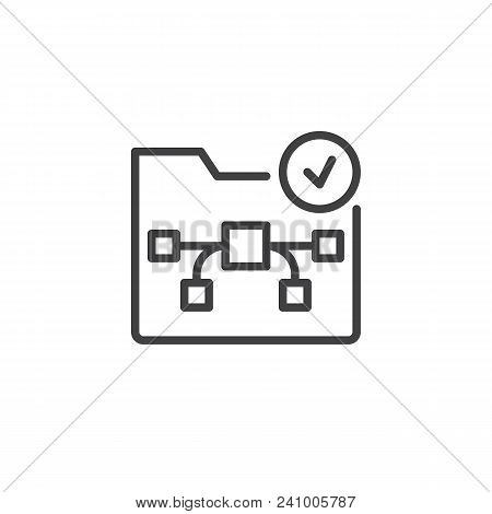 Graphic Folder With Check Mark Outline Icon. Linear Style Sign For Mobile Concept And Web Design. Gr
