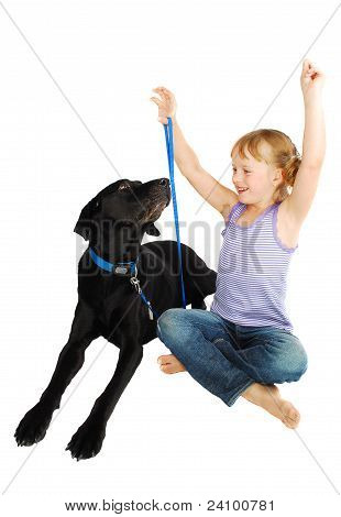 Little Girl Training  Her Dog