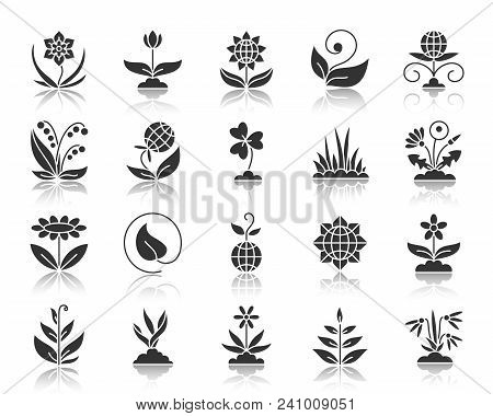 Garden Silhouette Icons Set. Monochrome Web Sign Kit Of Flower. Plant Pictogram Collection Includes