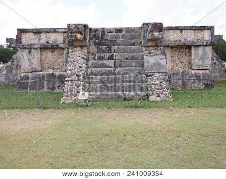 Ancient Platform Of Eagles And Jaguars Building At Chichen Itza City In Mexico, Most Impressive Of A