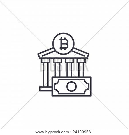 Bitcoin Exchange Line Icon, Vector Illustration. Bitcoin Exchange Linear Concept Sign.