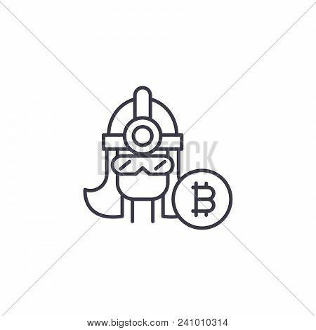 Bitcoin Miner Line Icon, Vector Illustration. Bitcoin Miner Linear Concept Sign.