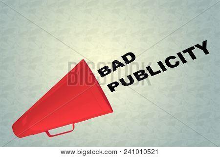 3d Illustration Of Bad Publicity Title Flowing From A Loudspeaker