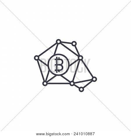 Bitcoin Transactions Line Icon, Vector Illustration. Bitcoin Transactions Linear Concept Sign.