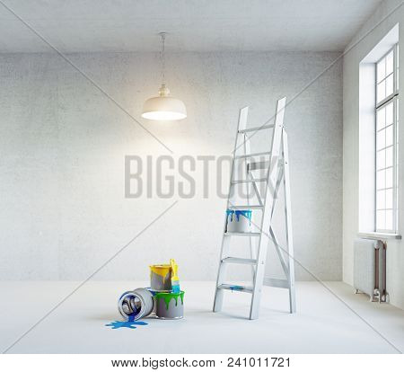 Modern white interior with color paints. 3d rendering interior