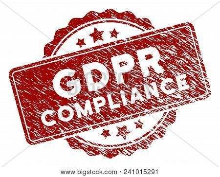 Gdpr Compliance Rubber Stamp Seal. Vector Element With Distress Style And Corroded Texture In Red Co