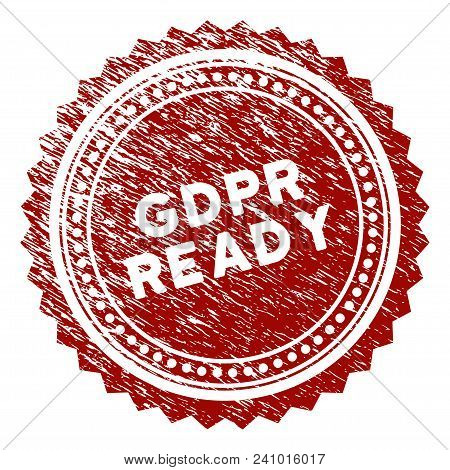 Gdpr Ready Rosette Rubber Stamp Seal. Vector Element With Distress Style And Corroded Texture In Red