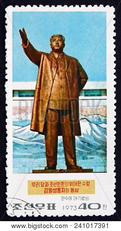 North Korea - Circa 1973: A Stamp Printed In North Korea Shows Statue Of Kim Il Sung, Leader Of Nort