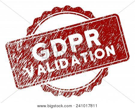 Gdpr Validation Rubber Stamp Seal. Vector Element With Distress Design And Corroded Texture In Red C