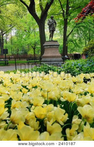 Statue And Flowers In Central Park