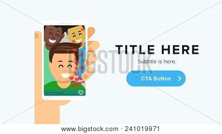 Landing Page Template. Commmunication People, Video Call Concept. Human Hand Holding Phone And Talki