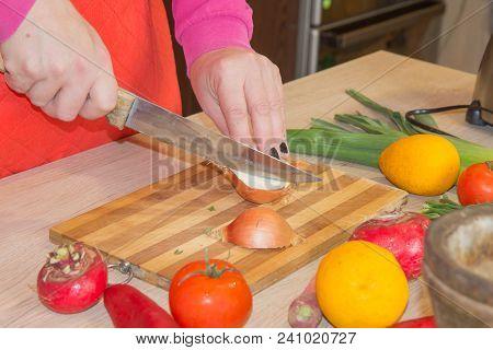 Woman Hands Cutting Vegetables On Kitchen Blackboard. Healthy Food. Woman Preparing Vegetables, Cook
