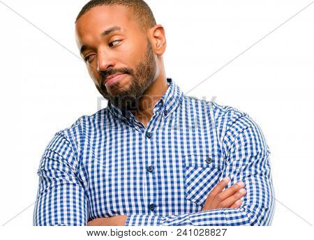 African american man with beard irritated and angry expressing negative emotion, annoyed with someone isolated over white background