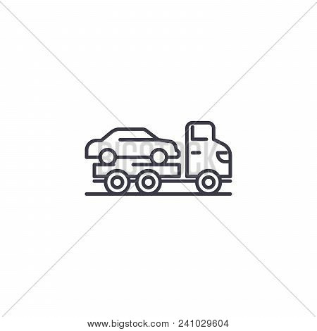 Car Carrier Line Icon, Vector Illustration. Car Carrier Linear Concept Sign.