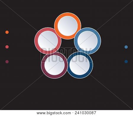 Template Infographic Circles Diagram 5 Positions On Black Background. Coloured Rings Are Located On