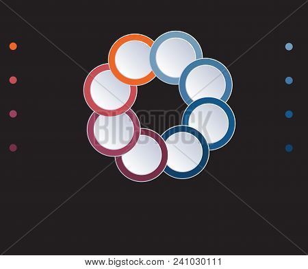 Template Infographic Circles Diagram 8 Positions On Black Background. Coloured Rings Are Located On