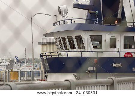 New Bedford, Massachusetts, Usa - May 15, 2018: Pilothouse Of Fishing Vessel Sea Watcher Ii Looms As