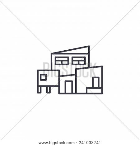 Complex Of Buildings Line Icon, Vector Illustration. Complex Of Buildings Linear Concept Sign.