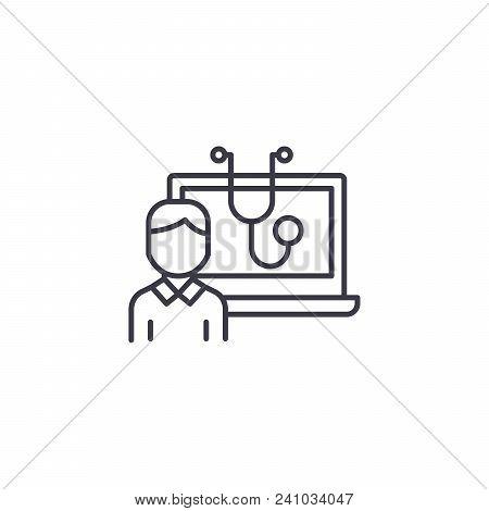 Computerized Diagnostics Line Icon, Vector Illustration. Computerized Diagnostics Linear Concept Sig