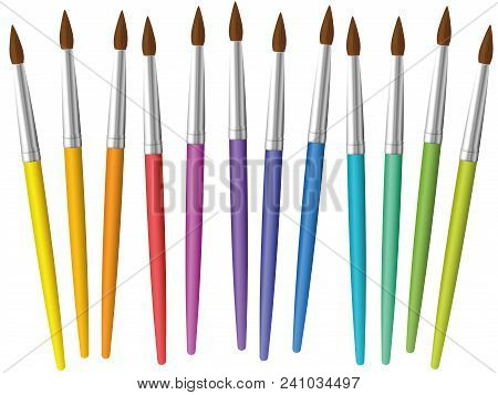 Paintbrushes Loosely Arranged. Set Of Twelve Rainbow Colored Thin Paint Brushes - Isolated Vector Il