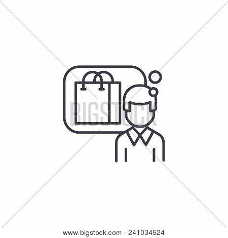 Consumer Line Icon, Vector Illustration. Consumer Linear Concept Sign.