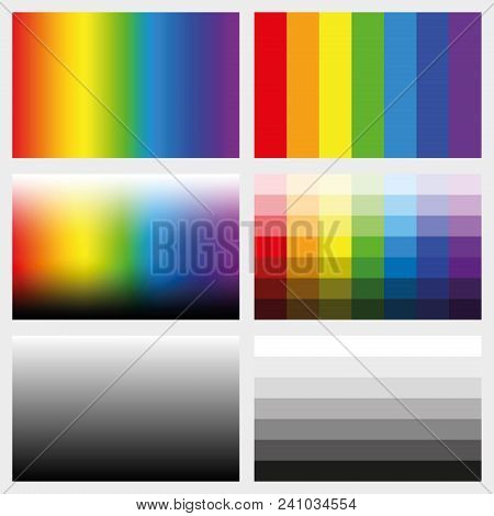 Shade Tabs. Set Of Color Gradients, Grayscales And Saturation Spectrums In Different Gradations From