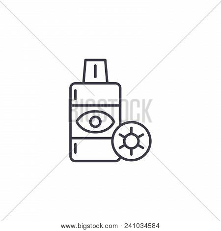 Contact Lens Solution Line Icon, Vector Illustration. Contact Lens Solution Linear Concept Sign.
