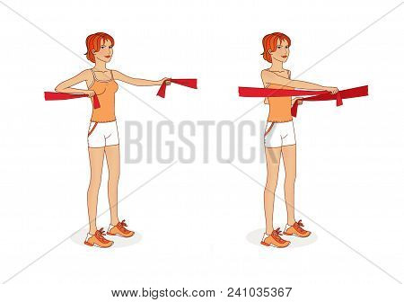 A Young Woman With Gymnastics Tapes Exercises Arm Muscles And Large Pectoral Muscles. Exercises. Iso