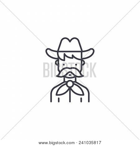 Cowboy Line Icon, Vector Illustration. Cowboy Linear Concept Sign.