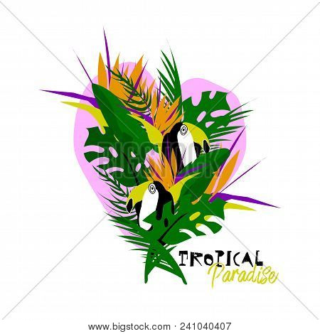 Cute vector Summer illustration collage with toucan bird, strelizia flower, palm leaves and calligraphic text on seascaped shape of heart background. Tropical paradise poster
