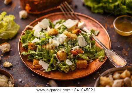 Caesar Salad On Vintage Table. Healthy Food Style