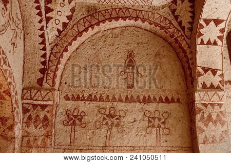 Murals In Ancient Christian Cave Church With Red Geometrical Ornaments ,cappadocia,turkey