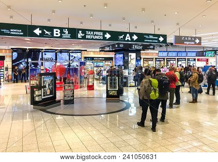 Ferno, Milan, Italy - May 5, 2018: Duty Free Shop, passengers make purchases before departure in Mil