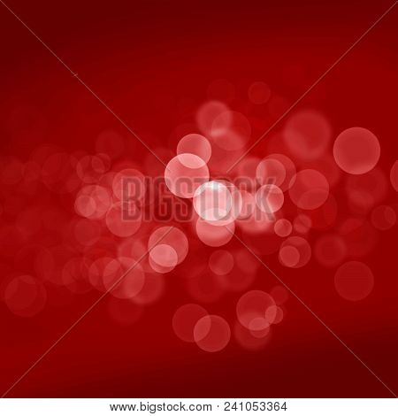 White Transparent Bubbles On Red Background, Abstract Vector Festive Art