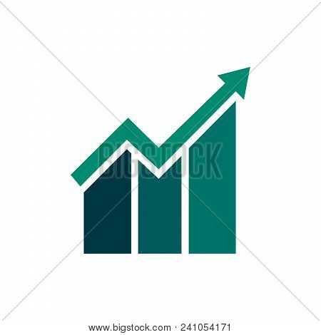 Graph Icon In Trendy Flat Style Isolated On White Background. Chart Bar Symbol For Web Site Design,