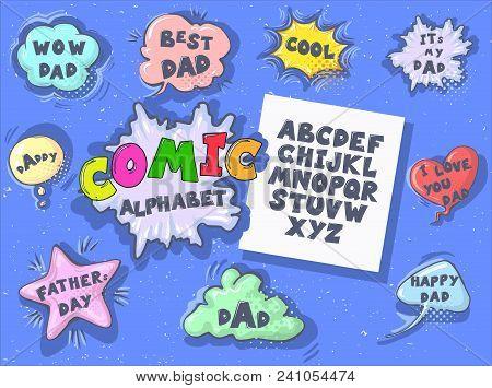 Comic Cartoon Retro Font Set. Alphabet Letters In Style Of Comics, Pop Art For Title, Headline, Post