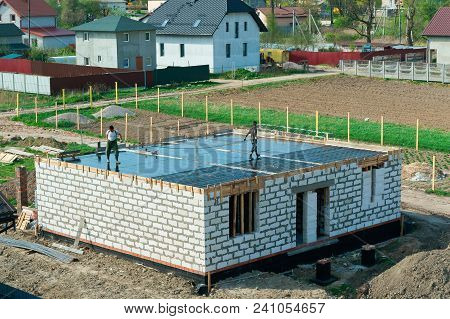Cement-filled Foundation Of A Private House, The Foundation Of The House Under Construction, Fresh C