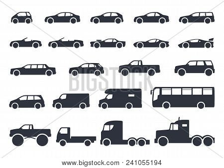 Car Type Icons Set. Vector Black Illustration Isolated On White Background With Shadow. Variants Of
