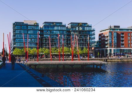 Dublin, Ireland - May 16th, 2018: Grand Canal Square In The Renewed Area Of The Docklands With Moder