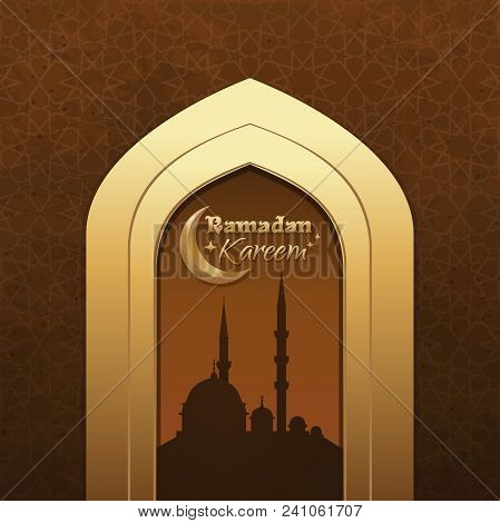 Greeting card ramadan vector photo free trial bigstock greeting card for ramadan islamic design with crescent moon mosque and traditional islamic greeting vector illustration m4hsunfo
