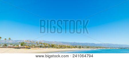 Clear Sky Over Santa Barbara Shoreline. Southern California, Usa