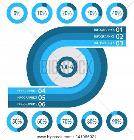 Vector Abstract 3d Paper Infographic Elements.business Infographics.pie Charts For Web Design.progre