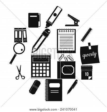 Stationery Symbols Icons Set. Simple Illustration Of 16 Stationery Symbols Vector Icons For Web