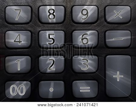 Numeric Keyboard On Calculator And Blur Effect For Figures Or Calculation Illustration