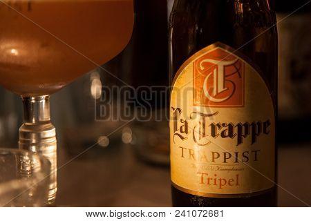Brussels, Belgium - April 28, 2018: Bier Bottle Of La Trappe Tripel. It Is A Dutch Trappist Beer Fro