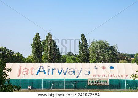 Belgrade, Serbia - April 29, 2018: Logo Of Jat Airways On One Of Their Hangars. Jat Airways Is The F