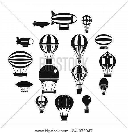Retro Balloons Aircraft Icons Set. Simple Illustration Of 16 Retro Balloons Aircraft Vector Icons Fo