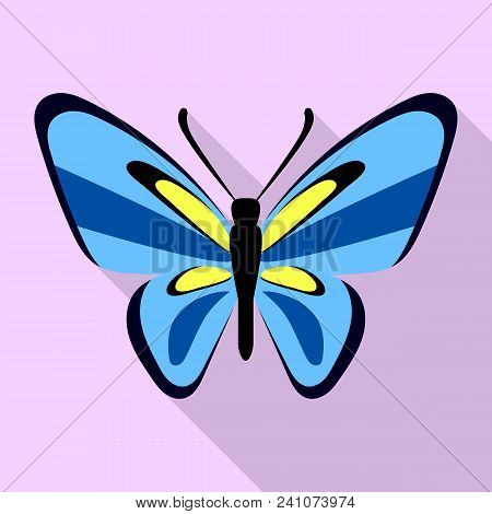 Nice Blue Butterfly Icon. Flat Illustration Of Nice Blue Butterfly Vector Icon For Web Design
